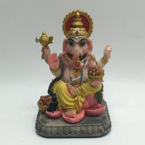 Hindu Ganesh on Lotus Figurine